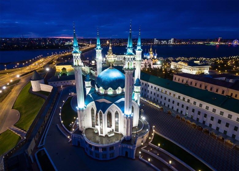ночная подсветка мечети Кул-Шариф
